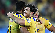 Hurricanes' Nehe Milner-Skudder celebrates the Hurricanes win with Julian Savea during the round 14 Super Rugby match. Hurricanes v Chiefs. Westpac Stadium, Wellington. 16th May 2015. Copyright Photo.: Grant Down / www.photosport.co.nz