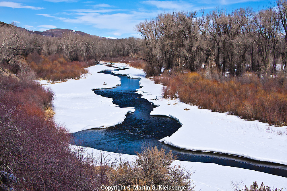 Gunnison River flowing into the east side of the Curecanti National Recreation Area during the winter season.  Colorado.