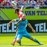 28-05-2017: Voetbal: FC Utrecht v AZ: Utrecht<br /> <br /> (L-R) FC Utrecht speler Sebastien Haller, AZ speler Ron Vlaar tijdens het Eredivisie duel tussen FC Utrecht en AZ op 28 mei 2017 in stadion Galgenwaard tijdens de finale play-offs <br /> <br /> Finale Play-offs, Eredivisie - Seizoen 2016 / 2017<br /> <br /> Foto: Gertjan Kooij