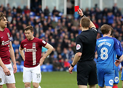Match referee Michael Salisbury shows a straight red card to Ash Taylor of Northampton Town - Mandatory by-line: Joe Dent/JMP - 02/04/2018 - FOOTBALL - ABAX Stadium - Peterborough, England - Peterborough United v Northampton Town - Sky Bet League One