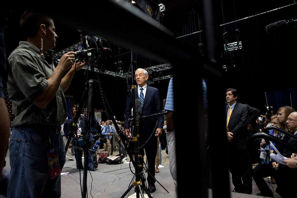 Republican presidential hopeful Ron Paul is interviewed on television following the Republican presidential debate on Thursday, August 11, 2011 in Ames, IA.