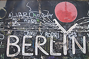Berlin sign on the eastside gallery, former the Germany wall,Berlin