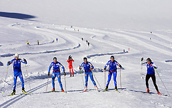 Slovenian team of nordic skiing: Nejc Brodar, Vesna Fabjan, Barbara Jezersek, Katja Visnar and Petra Majdic at practice of Slovenian Cross country National team before new season 2008/2009, on October 22, 2008, glacier Dachstein, Ramsau, Austria. (Photo by Vid Ponikvar / Sportida).