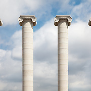 Four columns standing near the Museu Nacional d'Art de Catalunya in Barcelona, Spain.<br />