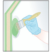 A vector illustration in a series of illustrations that show the process of blister repair of a fiberglass boat hull.