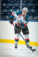 KELOWNA, CANADA - SEPTEMBER 2: Center Kyle Topping #24 of the Kelowna Rockets warms up with the puck against the Victoria Royals on September 2, 2017 at Prospera Place in Kelowna, British Columbia, Canada.  (Photo by Marissa Baecker/Shoot the Breeze)  *** Local Caption ***