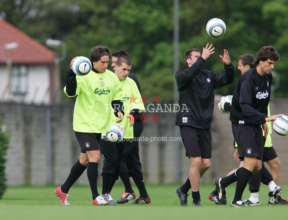 LIVERPOOL, ENGLAND. MONDAY, MAY 2nd, 2005: Liverpool's Harry Kewell training at Melwood Training Ground ahead of his side's UEFA Champions League Semi Final 2nd Leg against Chelsea. (Pic by David Rawcliffe/Propaganda)