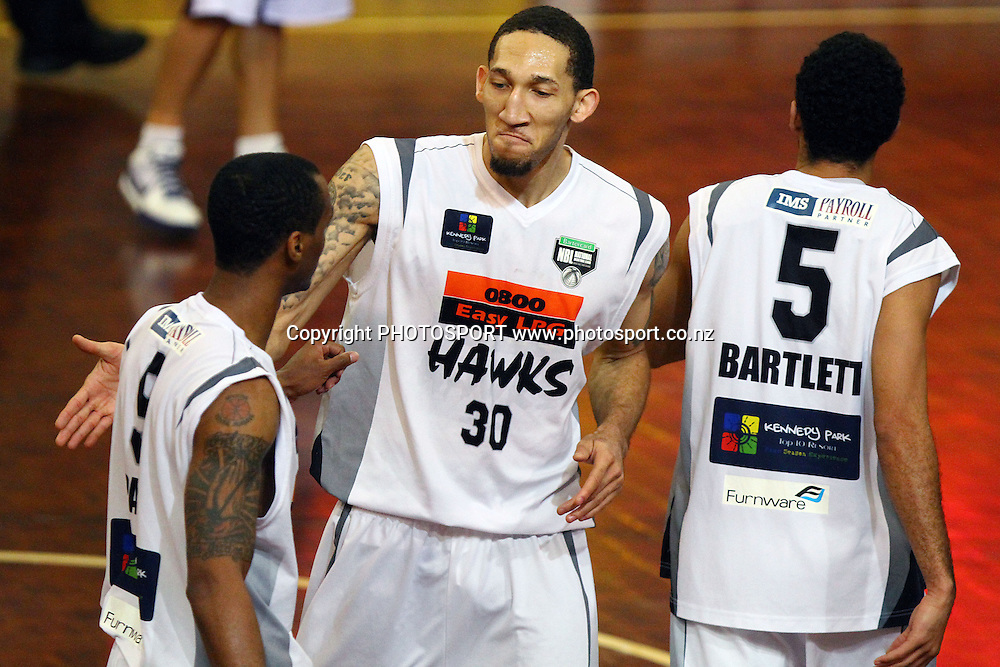 Hawks' Jon Rogers celebrates the win with teammate Josh Pace. 2010 NBL Quarter Final, Harbour Heat v Hawke's Bay Hawks, North Shore Events Centre, Auckland. Wednesday 23rd June 2010. Photo: Anthony Au-Yeung/PHOTOSPORT
