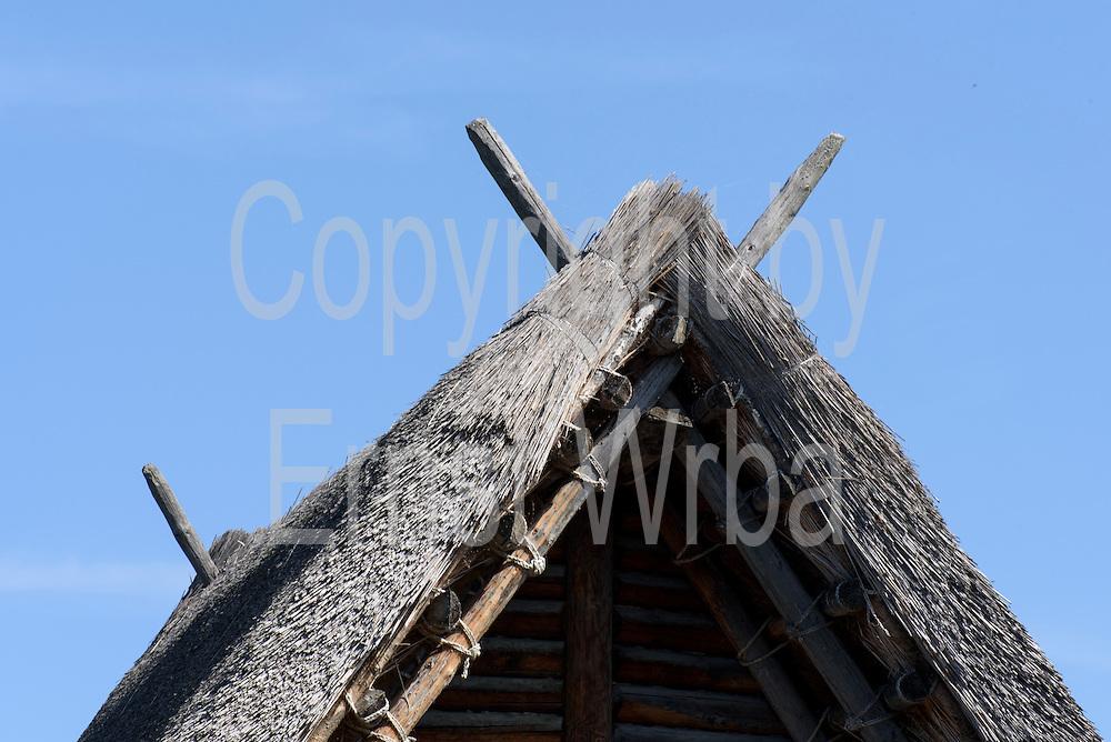 Pfahlbauten Dach im Pfahlbau-Museum Unteruhldingen, Überlinger See, Bodensee, Baden-Württemberg, Deutschland FREIGABE FÜR REDAKTIONELLE VERWENDUNG