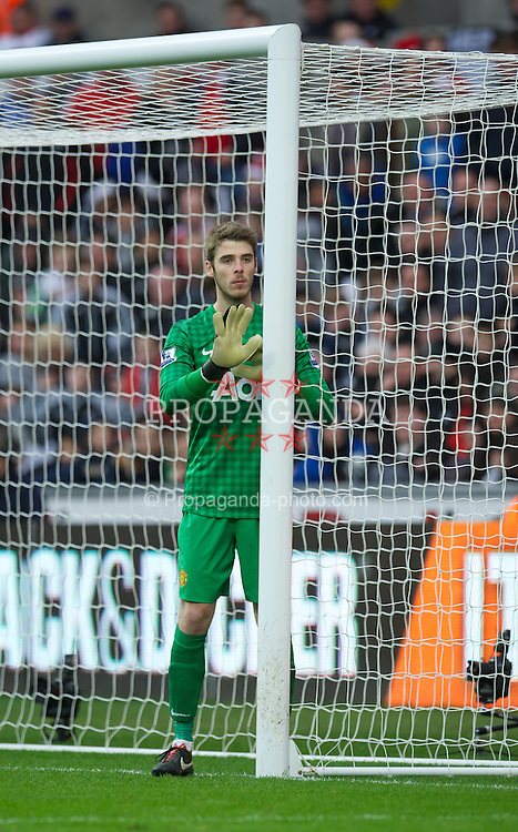 SWANSEA, WALES - Sunday, December 23, 2012: Manchester United's goalkeeper David de Gea in action against Swansea City during the Premiership match at the Liberty Stadium. (Pic by David Rawcliffe/Propaganda)