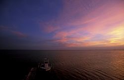 Stock photo of a colorful sunset on Galveston Bay