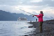 Fishing from shore and from boats is a popular activity on Resurrection Bay near Seward, ALaska.