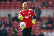 Middlesbrough goalkeeper Darren Randolph (23)  warming up during the EFL Sky Bet Championship match between Middlesbrough and Stoke City at the Riverside Stadium, Middlesbrough, England on 19 April 2019.
