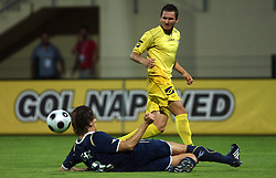 Dino Drpic of Dinamo and Andraz Kirm of Domzale at 1st football game of 2nd Qualifying Round for UEFA Champions league between NK Domzale vs HNK Dinamo Zagreb, on July 30, 2008, in Domzale, Slovenia. Dinamo won 3:0. (Photo by Vid Ponikvar / Sportal Images)