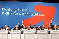 """10 MAR 2002, MAGDEBURG/GERMANY:<br /> Podium waehrend einer Abstimmung, gemeinsamer Parteitag der ostdeutschen SPD Landesverbaende unter dem Motto:""""Richtung Zukunft. Politik fuer Ostdeutschland."""", Hotel Maritim<br /> IMAGE: 20020310-01-097<br /> KEYWORDS: Party congress"""