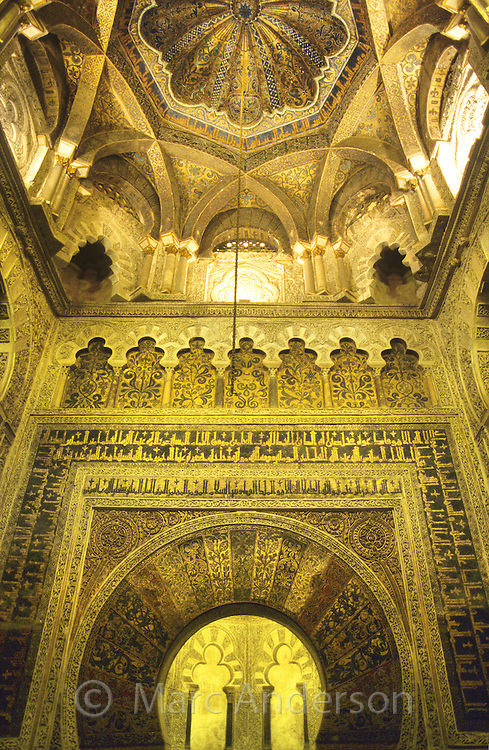 Moorish architecture inside the Mezquita, Cordoba, Spain