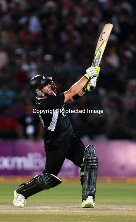 New Zealand batsman Scott Styris plays a shot during the 2nd ODI india vs New Zealand Played at Sawai Mansingh Stadium, Jaipur, 1 December 2010 - day/night (50-over match)