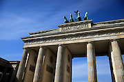 Germany Berlin, Brandenburg Gate, The 'Quadriga' statue of the Goddess of Victory by Gottfried Schadow