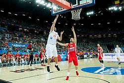 Nicolas de Jong of Netherlands vs Luka Zoric of Croatia during basketball match between Netherlands and Croatia at Day 5 in Group C of FIBA Europe Eurobasket 2015, on September 9, 2015, in Arena Zagreb, Croatia. Photo by Vid Ponikvar / Sportida