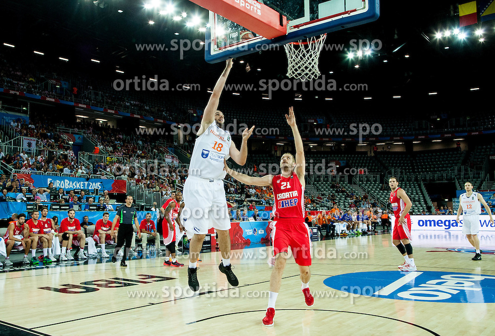 Nicolas de Jong of Netherlands vs Luka Zoric of Croatia during basketball match between Netherlands and Croatia at Day 5 in Group C of FIBA Europe Eurobasket 2015, on September 9, 2015, in Arena Zagreb, Croatia. Photo by Vid Ponikvar / Sportida