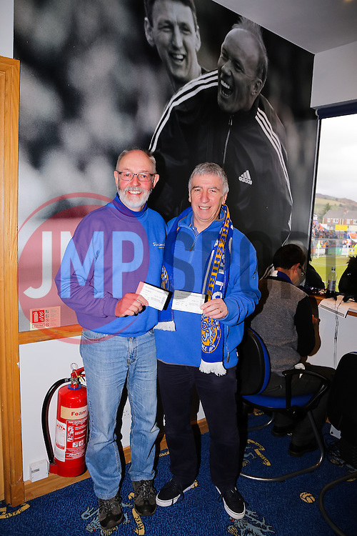 2 Macclesfield Town fans show their hospitality tickets after winning a competition from the non-league paper - Photo mandatory by-line: Neil Brookman/JMP - Mobile: 07966 386802 - 28/03/2015 - SPORT - Football - Macclesfield - Moss Rose - Macclesfield Town v Bristol Rovers - Vanarama Football Conference