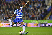 Reading's Aaron Tshibola has a shot at goal during the Capital One Cup match between Reading and Everton at the Madejski Stadium, Reading, England on 22 September 2015. Photo by Mark Davies.