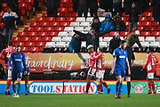 Charlton Athletic attacker Lyle Taylor (9) celebrating after scoring goal during the EFL Sky Bet League 1 match between Charlton Athletic and AFC Wimbledon at The Valley, London, England on 15 December 2018.