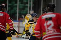 2019-08-14 | Nyköping, Sweden: Södertälje SK (33) Måns Lindbäck during the game between Nyköping SK and Södertälje SK at Nyköping Arena ( Photo by: Simon Holmgren | Swe Press Photo )<br /> <br /> Keywords: Nyköping Arena, Nyköping, Ice hockey, Preseason game, Nyköping SK, Södertälje SK