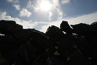 Sunlight over a stone wall, Inis Mor, The Aran Islands, County Galway, Ireland