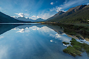 Diamond Lake reflecting paradise, in Paradise, New Zealand.