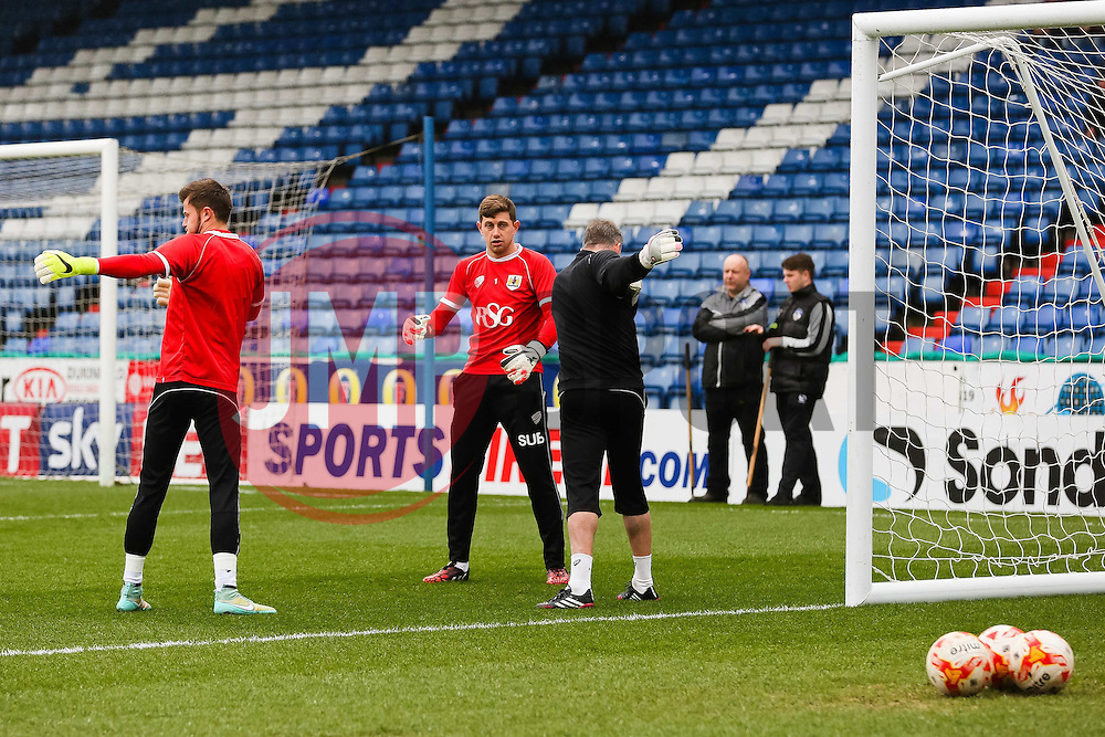 Bristol City goalkeepers warm up before the game - Photo mandatory by-line: Matt McNulty/JMP - Mobile: 07966 386802 - 03/04/2015 - SPORT - Football - Oldham - Boundary Park - Oldham Athletic v Bristol City - Sky Bet League One
