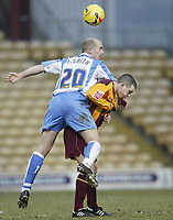 Photo: Aidan Ellis.<br /> Bradford City v Swindon Town. Coca Cola League 1. 11/02/2006.<br /> Swindon's Paul Smith gets a lift on Bradford's Steven Schumacher's back