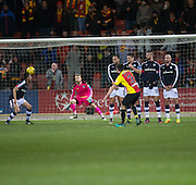 Partick Thistle's Callum Booth opens the scoring with a fine free kick - Partick Thistle v Dundee in the Ladbrokes Scottish Premiership at Firhill, Glasgow - Photo: David Young, <br /> <br />  - &copy; David Young - www.davidyoungphoto.co.uk - email: davidyoungphoto@gmail.com