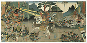 Battle scene from the series 'The Forty-seven Faithful Samurai'.  Coloured woodblock print, late 1840's.  Utagawa Yoshitora (active 1850-1880) Japanese artist and printmaker..
