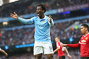 Manchester City forward Wilfied Bony (14) misses a chance during the Barclays Premier League match between Manchester City and Manchester United at the Etihad Stadium, Manchester, England on 20 March 2016. Photo by Phil Duncan.