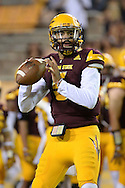 TEMPE, AZ - SEPTEMBER 03:  Quarterback Manny Wilkins #5 of the Arizona State Sun Devils of the Arizona State Sun Devils warms up prior to the game against the Northern Arizona Lumberjacks at Sun Devil Stadium on September 3, 2016 in Tempe, Arizona.  (Photo by Jennifer Stewart/Getty Images)