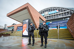 © Licensed to London News Pictures. 01/10/2017. Manchester UK. Armed Police outside Manchester Central where the Conservative Party Conference starts today.  Photo credit: Andrew McCaren/LNP