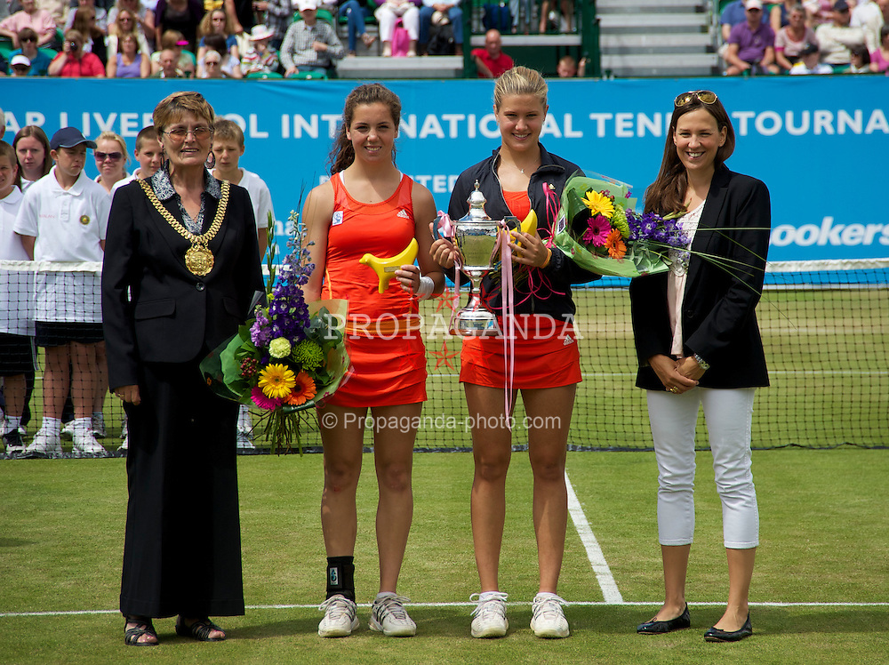 LIVERPOOL, ENGLAND - Saturday, June 19, 2010: Mayor of Liverpool Councillor Hazel Williams, Eugenie Bouchard (CAN), Ulrikke Eikeri (NOR) and Regina Malzberg after the Ladies' Singles Final on day four of the Liverpool International Tennis Tournament at Calderstones Park. (Pic by David Rawcliffe/Propaganda)