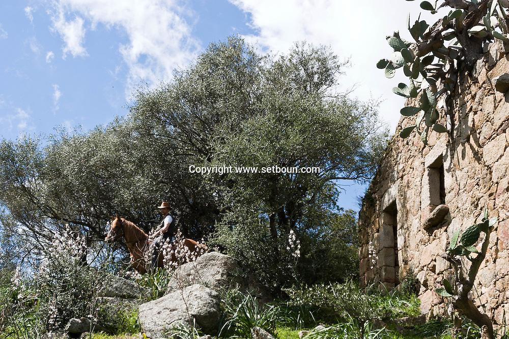Corsica. France. Horse trek, Horse riding  around decaying Sheepfold in San Pultru, near Sartene, Corsica  France   / Randonnee a cheval pres des bergeries a San Pultru  sud corse.  France