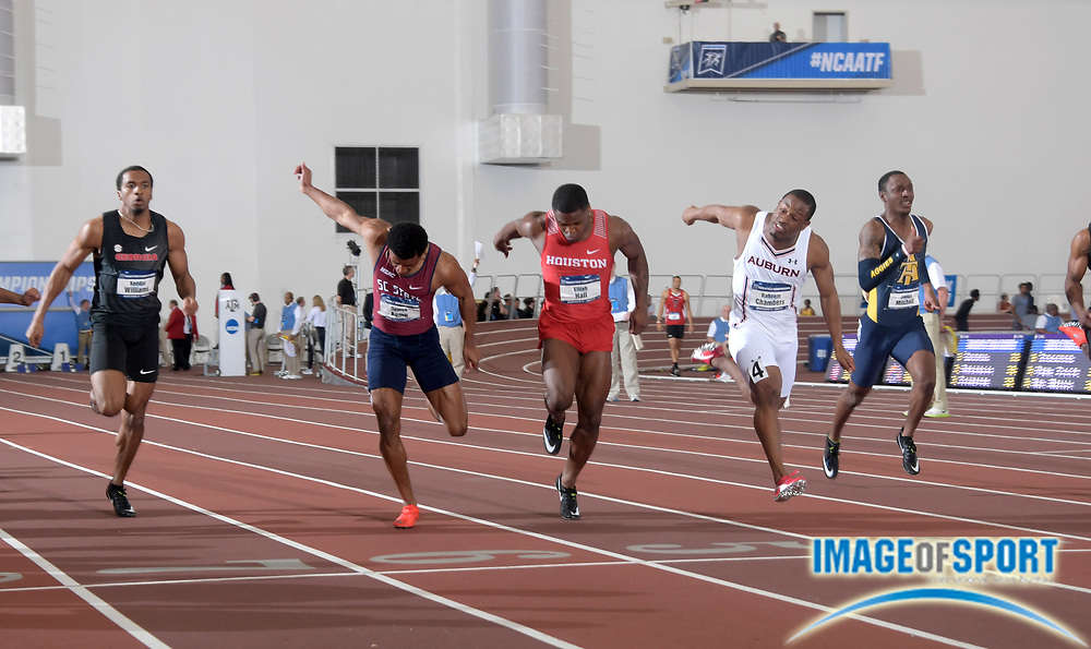 Mar 10, 2018; College Station, TX, USA; Elijah Hall of Houston (center) defeats Raheem Chambers of Auburn(second from right) to win the 60m, 6.52 to 6.53, during the NCAA Indoor Track and Field Championships at the McFerrin Athletic Center. From left: Kendal Williams (Georgia), Demek Kemp (South Carolina State), Hall, Chambers and Jaylan Mitchell (North Carolina A&T).