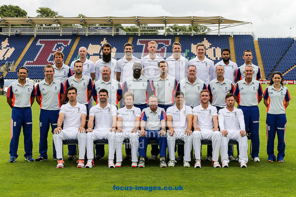 The England team, support staff and coaches before the England Cricket Practice before the first Test Match of the Investec Ashes Series at Sophia Gardens, Cardiff<br /> Picture by Andy Kearns/Focus Images Ltd 0781 864 4264<br /> 07/07/2015