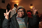 November 6, 2012- Harlem, NY:  Visual Artist Zenobia Bailey at the U.S. Presidential Election Watch Party held at the Schomburg Center for Research in Black Culture on November 6, 2012 in Harlem, New York City. The Schomburg Center for Research in Black Culture, a research unit of The New York Public Library, is generally recognized as one of the leading institutions of its kind in the world. For over 80 years the Center has collected, preserved, and provided access to materials documenting black life, and promoted the study and interpretation of the history and culture of peoples of African descent. (Terrence Jennings)
