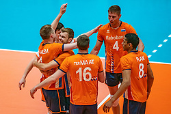 12-06-2019 NED: Golden League Netherlands - Estonia, Hoogeveen<br /> Fifth match poule B - The Netherlands win 3-0 from Estonia in the series of the group stage in the Golden European League / Daan van Haarlem #1 of Netherlands, Gijs Jorna #7 of Netherlands, Thijs Ter Horst #4 of Netherlands, Fabian Plak #8 of Netherlands
