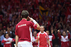 21.11.2014, Stade Pierre Mauroy, Lille, FRA, Davis Cup Finale, Frankreich vs Schweiz, im Bild Stanislas Wawrinka (SUI) jubelt nach dem Matchball // during the Davis Cup Final between France and Switzerland at the Stade Pierre Mauroy in Lille, France on 2014/11/21. EXPA Pictures © 2014, PhotoCredit: EXPA/ Freshfocus/ Valeriano Di Domenico<br /> <br /> *****ATTENTION - for AUT, SLO, CRO, SRB, BIH, MAZ only*****
