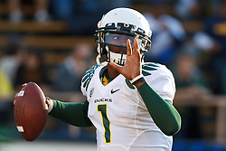 November 13, 2010; Berkeley, CA, USA; Oregon Ducks quarterback Darron Thomas (1) warms up before the game against the California Golden Bears at Memorial Stadium.