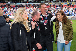 Free to use courtesy of Sky Bet - Assistant Head Coach Steve Parkin and manager Phil Parkinson pose with family members as Bolton Wanderers celebrate finishing the season as Sky Bet League One runners up to secure automatic Promotion to the 2017/18 Sky Bet Championship - Rogan Thomson/JMP - 30/04/2017 - FOOTBALL - Macron Stadium - Bolton, England - Bolton Wanderers v Peterborough United - EFL Sky Bet League One.