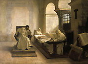 The Men of the Holy Office'.  Jean Paul Laurens (1838-1921) French painter and illustrator.  Oil on Canvas.  Established by Pope Paul III in 1542 the Supreme Sacred Congation of the Roman and Universal Inquisition to defend the Roman Catholic faith, and played an important part in the Counter Reformation.