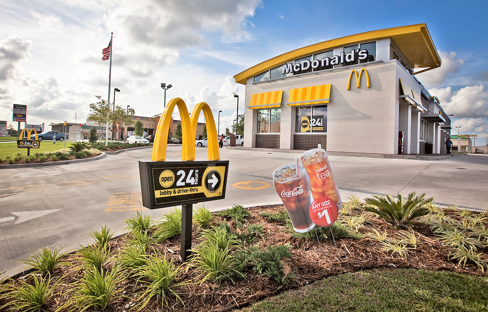 New McDonald's fast food restaurant in Chalmette Louisiana, one of many franchises to reopen in an area that was devastated by hurricane Katrina.