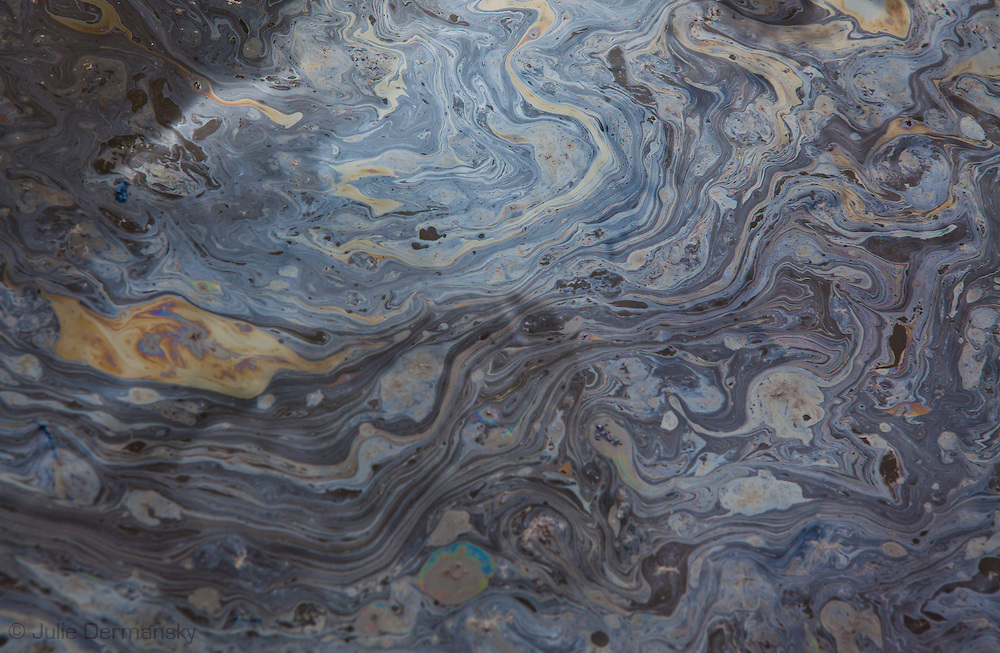 August, 8, 2010, Oil sheen from the the BP oil spill in Bay Baptiste, in Plaquemines Parish.