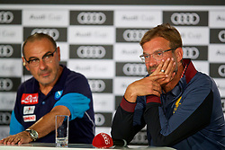 MUNICH, GERMANY - Monday, July 31, 2017: Liverpool's manager Jürgen Klopp and SSC Napoli head coach Maurizio Sarri during a press conference ahead of the Audi Cup 2017 at the Westin Grand Hotel München. (Pic by David Rawcliffe/Propaganda)